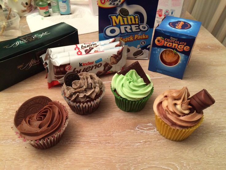 Terry's chocolate orange, Oreo, After Eight and Kinder Bueno muffins