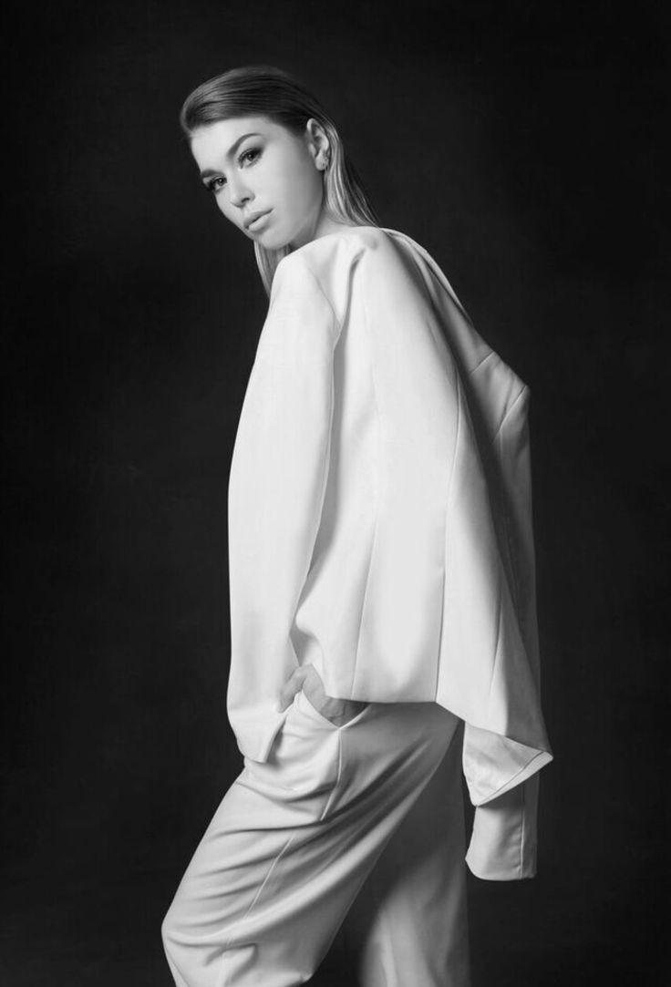 Designer women's blazer made from superfine Australian Merino wool.  Hard to find women's white suit - The Aurum Collective.
