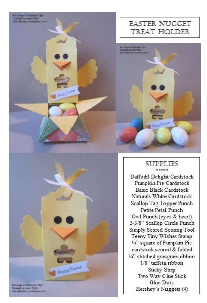 Easter Chick Nugget Scallop Tag Topper Treat Holder Added by Jean Fitch (USA - Oregon)