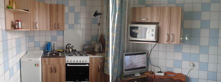 """Кухня угловая. ДСП """"Дуб молочный"""", фасады пленочные. Размеры: Низ кухни - 500+550мм, верх - 1220х940мм+ островок 650мм. Новая мебель не только сделала помещение теплым и современным, но и занимает совсем немного места в малогабаритной кухне. Стоимость - 6150грн. (пос. Жуковского)  Изготовление мебели для кухни на заказ. #кухня #мебель #мебельназаказ"""