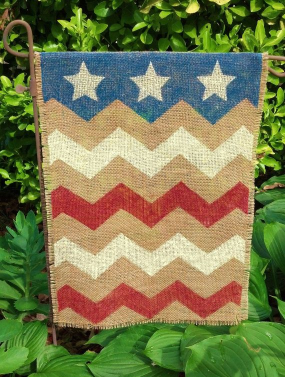 Burlap Garden Flag Chevron Stars and Stripes on Etsy, $15.00