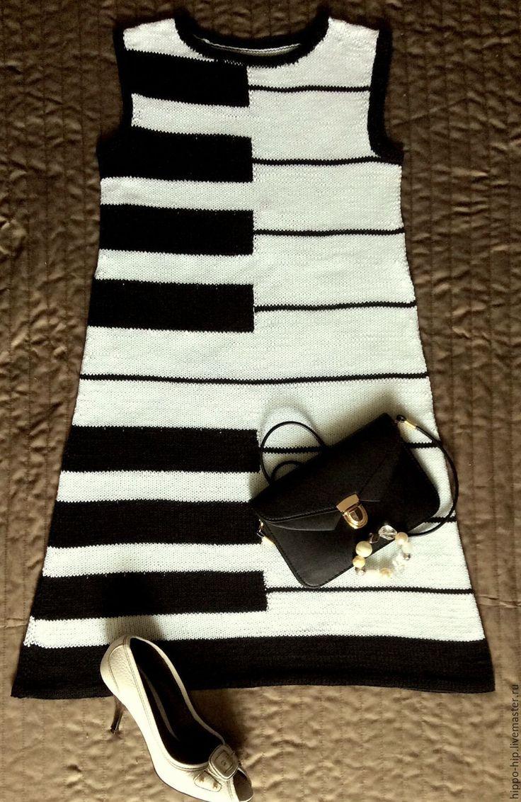"""Купить Платья """"В стиле воспоминаний"""" - комбинированный, рисунок, принт, платье летнее, платье вязаное #платье_вязанное_спицами#платье_летнее##"""