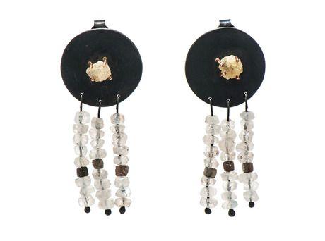 Rough Diamond Circle earrings by Sarah Heyward  (Oxidised silver, 18ct yellow gold, rough diamonds, moonstone)