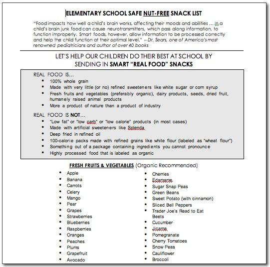 An Elementary School Snack List – Nut-Free http://www.100daysofrealfood.com