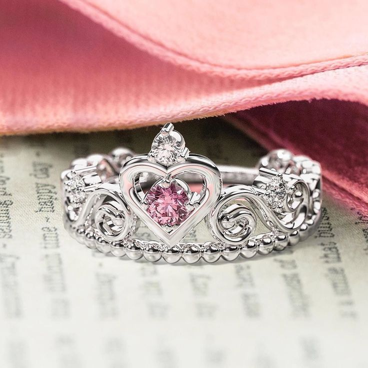 The Happily Ever After Ring: a one-of-a-kind way to make her dreams come true.  Link in bio! . . . #princess #jewelry #ring #tiara #cute #promisering #engagementring #inlove #love  https://jwl.io/d50de