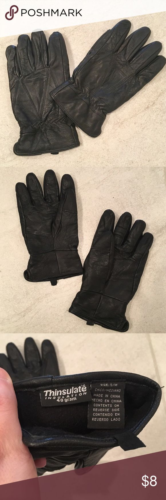 Sheep Skin Thinsulate Gloves Black, sheep skin thinsulate gloves. Minimal wear, very warm. Accessories Gloves