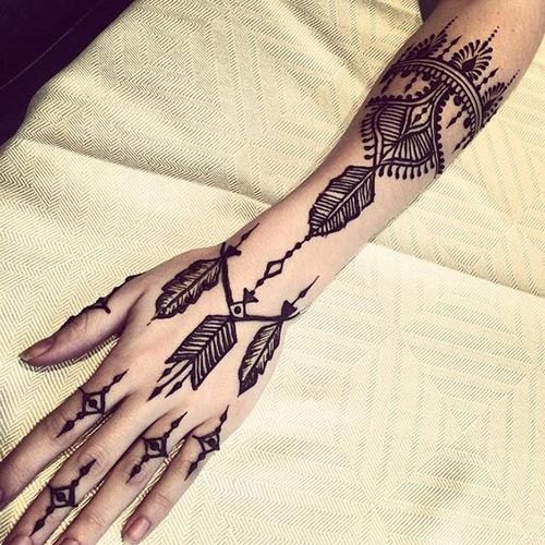 Beautiful collection of different type of feather henna designs that will look really chic not only on hands but also on arms and back.