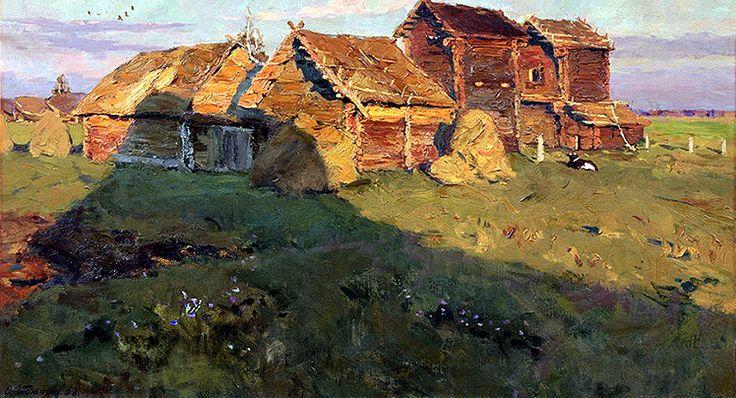 Stozharov Vladimir Fedorovich (1926 - 1973).Sheaf-drying rooms. Last ray. 1958. Oil canvas. 53x95cm Овины. Последний луч