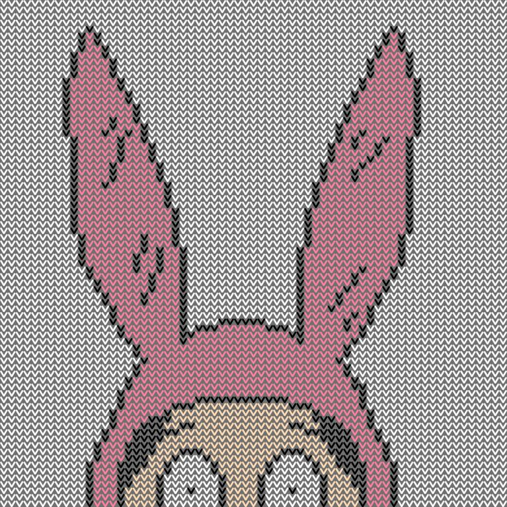 Bob's Burger's Knitting Patterns. Could probably cross stitch these too!!!