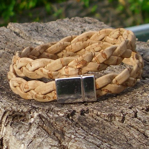 Bracelet made of braided cork cord  double.