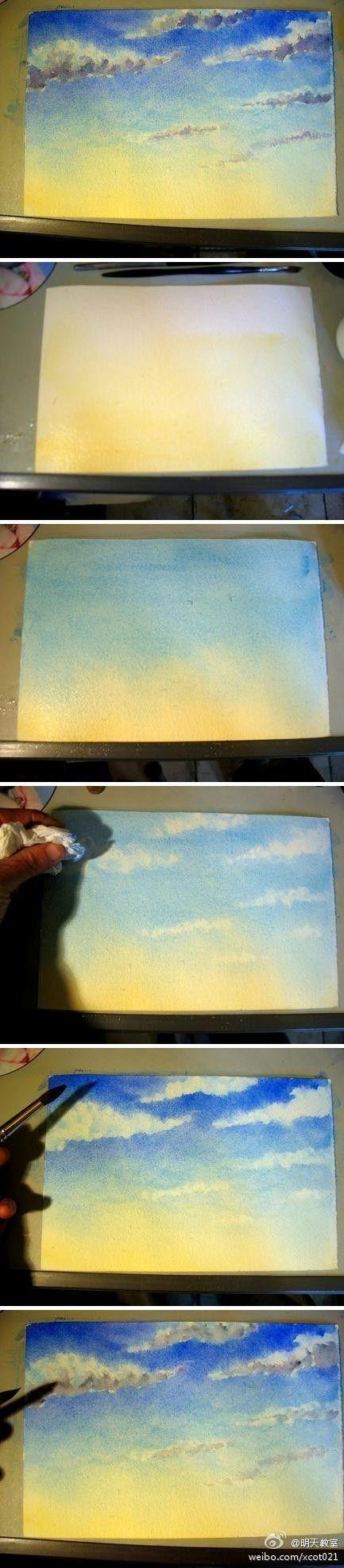 分享一个天空的详细水彩步骤~一开始用黄色...