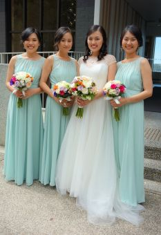 Bride and bridesmaids bouquets - cream, fuschia, purple and orange to match with mint bridesmaids dresses #sunpetalsflorist