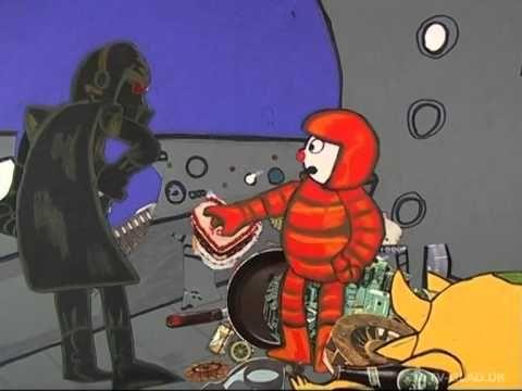 Cut out animationsfortælling med malende lydside fra TV Glad. Linie 1A i det ydre rum