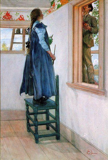 """Carl Larsson """"Suzanne och en ann"""" (1901). Suzanne och målaren Carl Oscar Persson, en av hantverkarna i Sundborn, ses här i färd med att ställa i ordning hennes rum. Denna tillbyggnad av Lilla Hyttnäs gjordes 1901, det år då familjen bosatte sig här permanent. Akvarell. Privat ägo."""