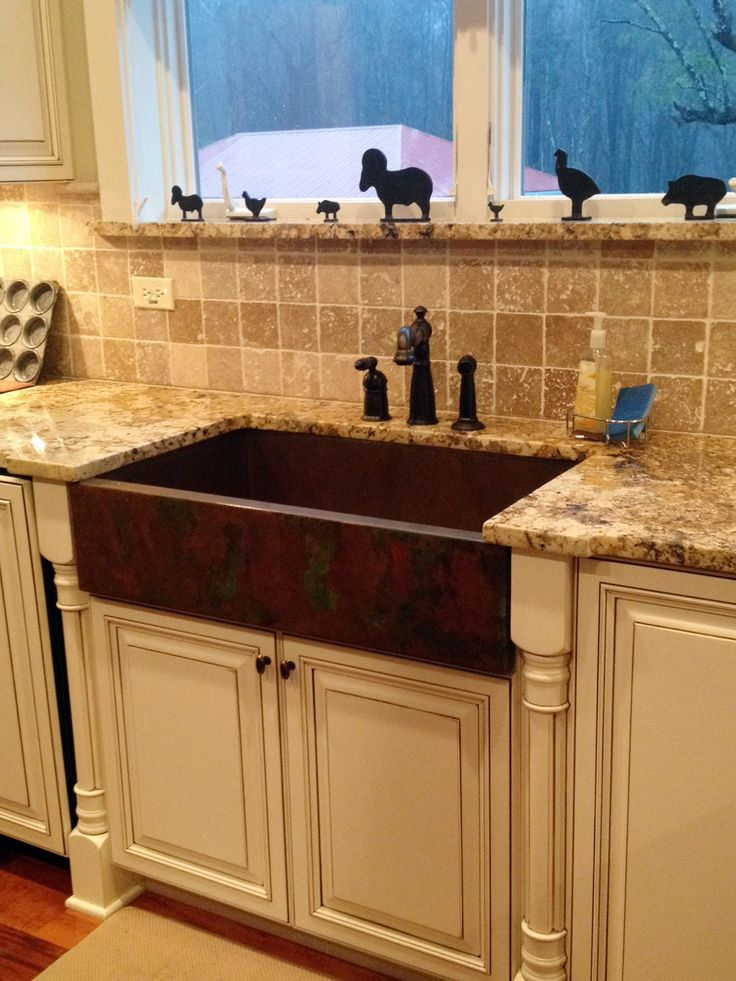 copper farmhouse sink | ... Kitchen shows one of our copper apron sinks with a weathered patina