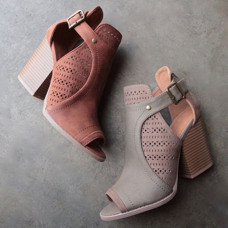 "Peep toe booties featuring a perforated design, side buckle closure, and finished on a stacked chunky heel. - Material: Man-made, leatherette - Sole: Synthetic - Measurement: Heel Height: 4"" (approx.)"