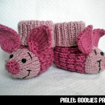 Piglet Baby Booties Knitting Pattern