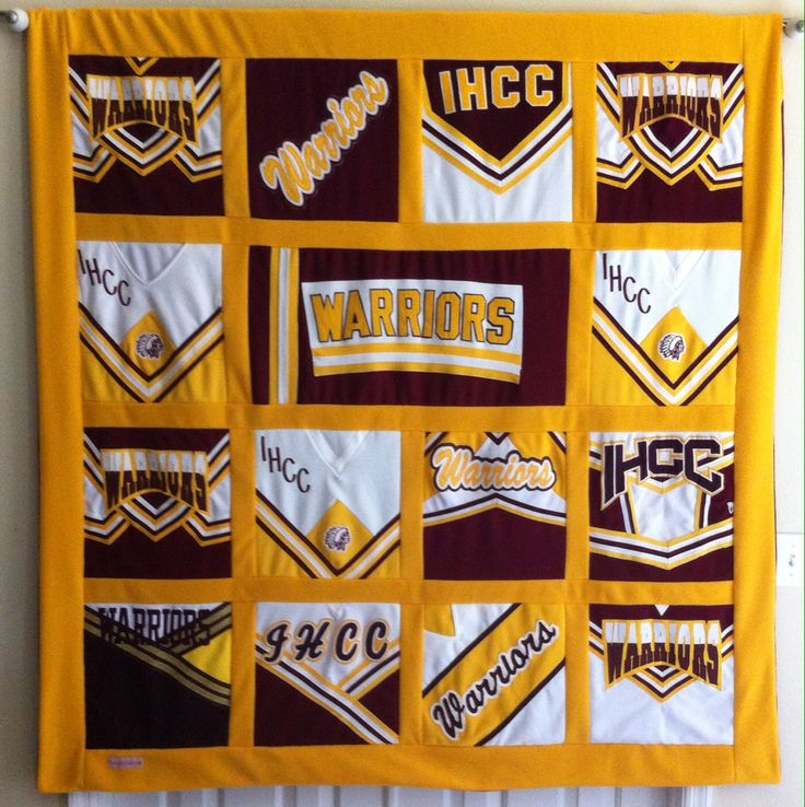 Awesome cheerleading T-shirt quilt with uniforms!
