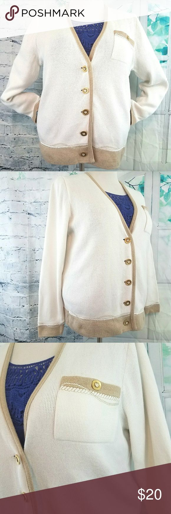 "Lucia Nautical Cardigan Sweater German size 38= US size 8 or Medium Bust: 42"" Waist: 42"" Hip: 42"" Length: 25"" Mid-weight polyester/acrylic knit.  Eggshell & tan with embroidered accent stitching.  Good condition Lucia Sweaters Cardigans"