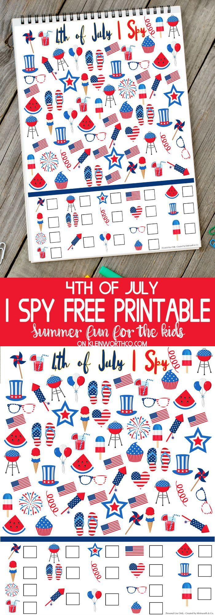 4th of July I Spy Printable - FREE printable to keep the kids busy while they wait for the fireworks this Independence Day. Fun Holiday kids activity! via @KleinworthCo