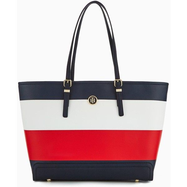 Tommy Hilfiger Honey Stripe Tote Bag (700 PEN) ❤ liked on Polyvore featuring bags, handbags, tote bags, white purse, tommy hilfiger tote, stripe tote, handbags tote bags and stripe purse