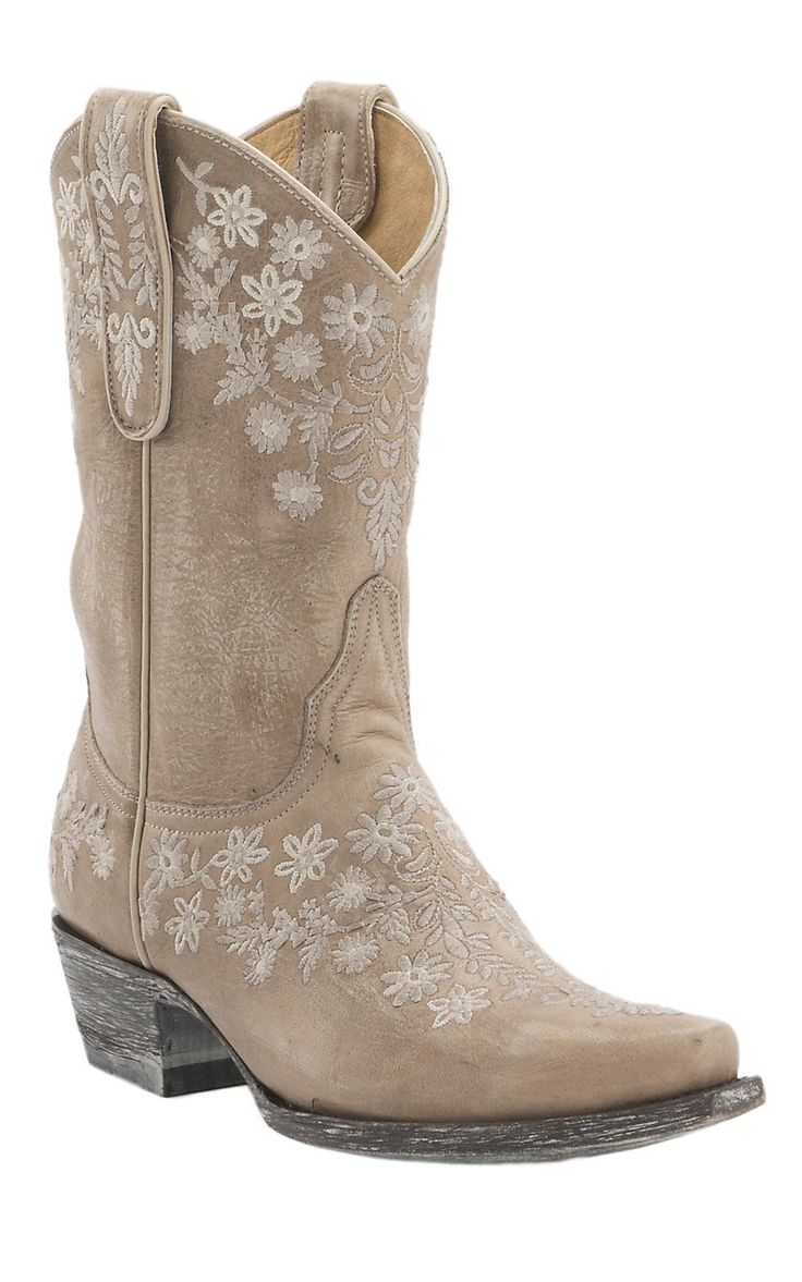 Old Gringo Yippee Ki Yay Women's Cream Evalight Floral Stitched Snip Toe Western Boots