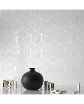 Cubix White Geometric Wallpaper - Graham and Brown