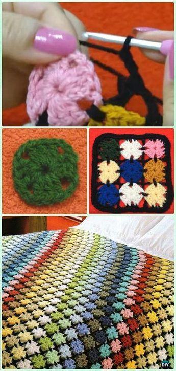 Crochet Mini Square Blanket Free Pattern - Crochet Rainbow Blanket Free Patterns