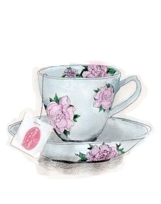 drawing, floral, and tea resmi