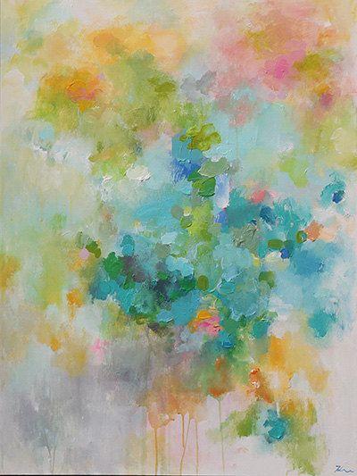 Azul abstracto verde azulado turquesa verde pintura por artbyoak1