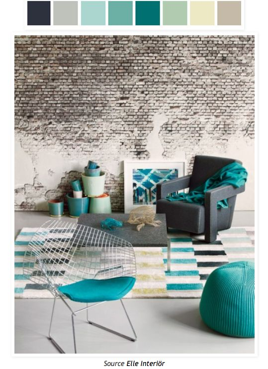 from: Elle Interior  / lamaisondannag.blogspot.ca  Spacious room full of texture/grey/turquoise - special!