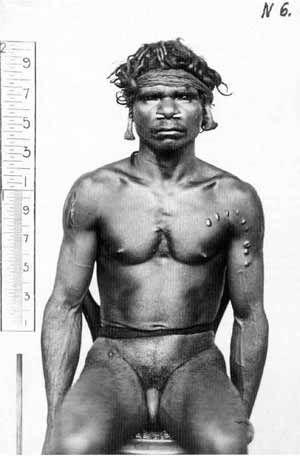 Biliamuk, aboriginal Larika man, 27 years. An apometric photograph by Paul Foelsche, 1879.