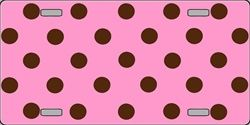 Chocolate Brown Polka Dots Pink Background Customizable Metal Novelty License Plate Tag Sign