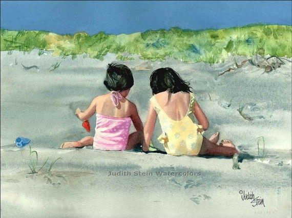 BEACH GIRLS SISTERS Children 15x11 Watercolor Art Print