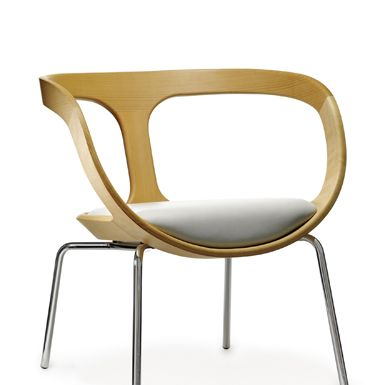 Big Hug - easy chair in solid natural beech or stain. Base in chromed steeltubing. seat or seat/back covered in fabric or leather.