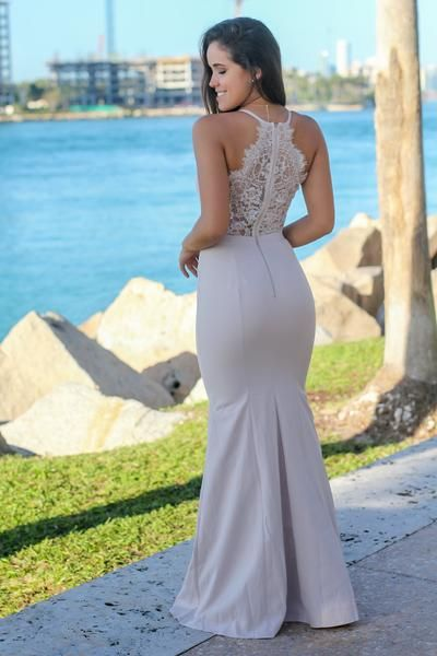 Nude Maxi Dress with Lace Back | Bridesmaid Dresses – Saved by the Dress