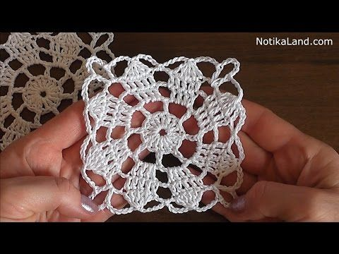 CROCHET Flower Pattern for Doily Tablecloth Blanket Motif Hexagon Tutorial #3 Part 1 - YouTube