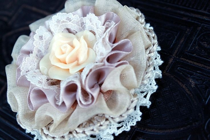 Champagne lace crochet Brooch from From Lucky Lonny With Love by DaWanda.com