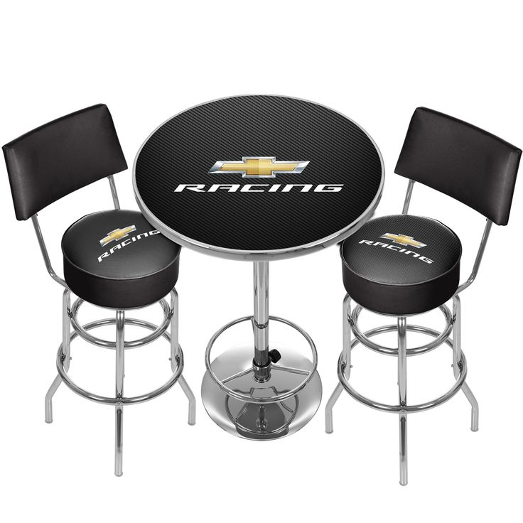 """Trademark Chevrolet Game Room Combo - 2 Stools w/ Back & Table (""""Racing"""" - 2 Stools w/Back & Table), Silver"""