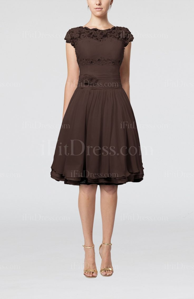 Chocolate Brown Bridesmaid Dresses | Chocolate Brown Cinderella Scalloped Edge Short Sleeve Chiffon Knee ...
