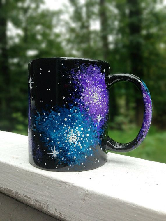 Hand painted galaxy mug by ArianaVictoriaRose on Etsy