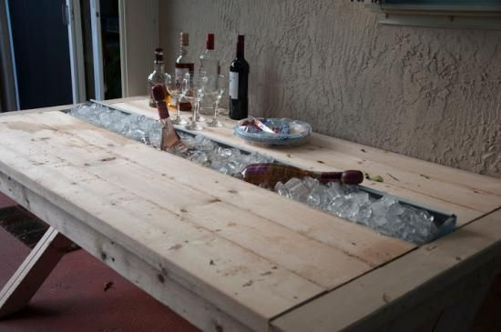 Builders Showcase: Rustic Outdoor Table with Cooling Tray | The Design Confidential: Cooler Table, Design Confidential, Diy Furniture, Outdoor Furniture, Picnic Tables, Outdoor Tables, Furniture Plans, Rustic Outdoor