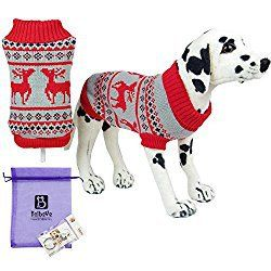 Bolbove Pet Christmas Themed Reindeer Turtleneck Sweater for Small Dogs & Cats Holiday Knitwear Cold Weather Outfit (Small, Red)