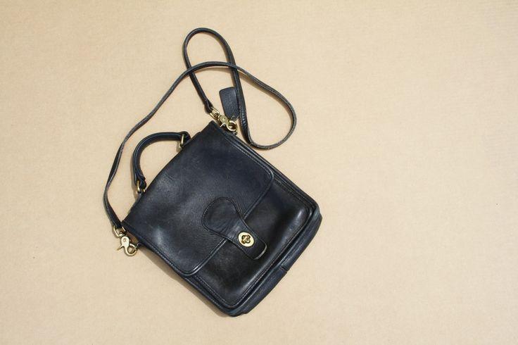 1970s Black Leather Coach Vintage Designer Crossbody Satchel Bag