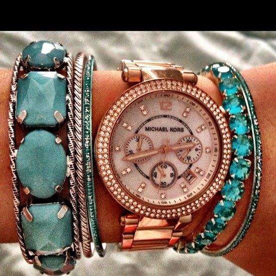 turquoise + rose gold watch and bracelets