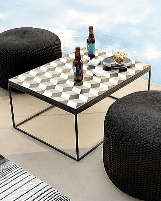 Tangier Coffee Table Diamond Days Rvsbl Outdr Rug 5x8 Criss Knit Pouf Black Outdoor Because Summer