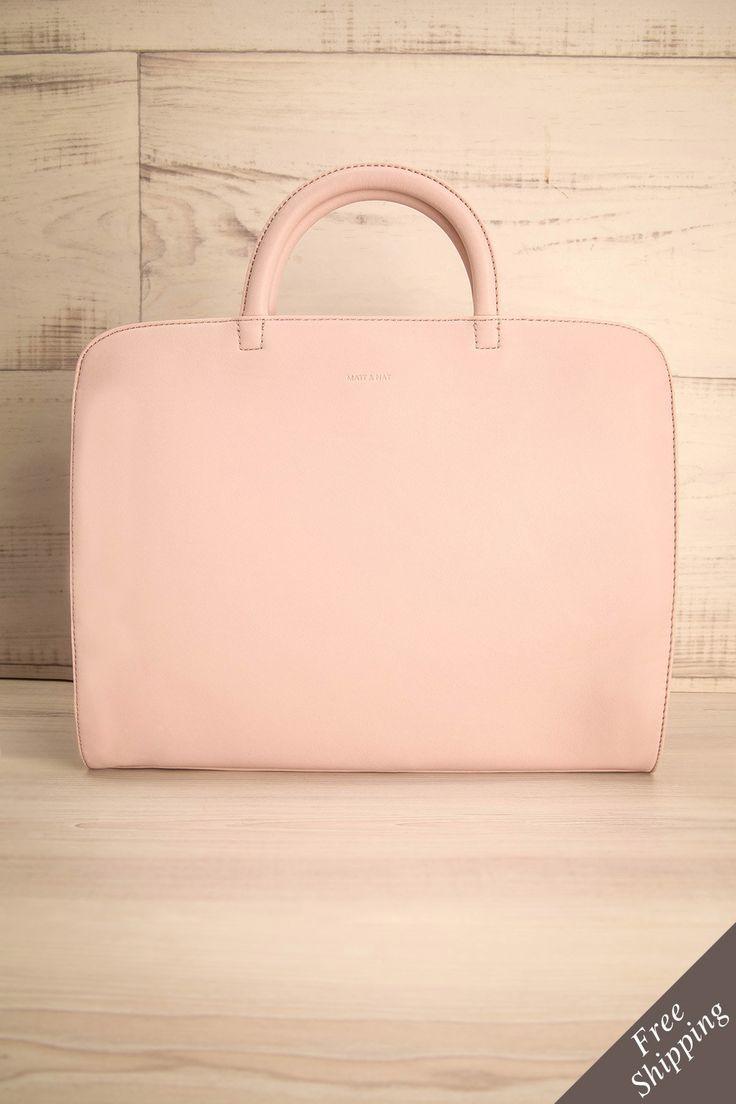 Sac à main en cuir végétalien rectangulaire rose pâle - Light pink vegan leather rectangular handbag
