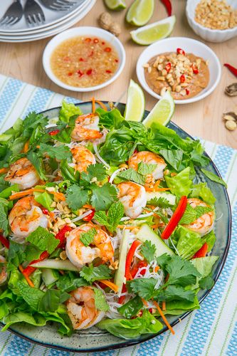 Vietnamese Summer Roll Salad in Peanut Dressing