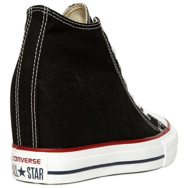 Converse Women 80mm All Star Mid Lux Canvas Sneakers (2.085 ARS) ❤ liked on Polyvore featuring shoes, sneakers, grommet shoes, wedge sneakers, wedge heel sneakers, eyelets shoes and converse sneakers