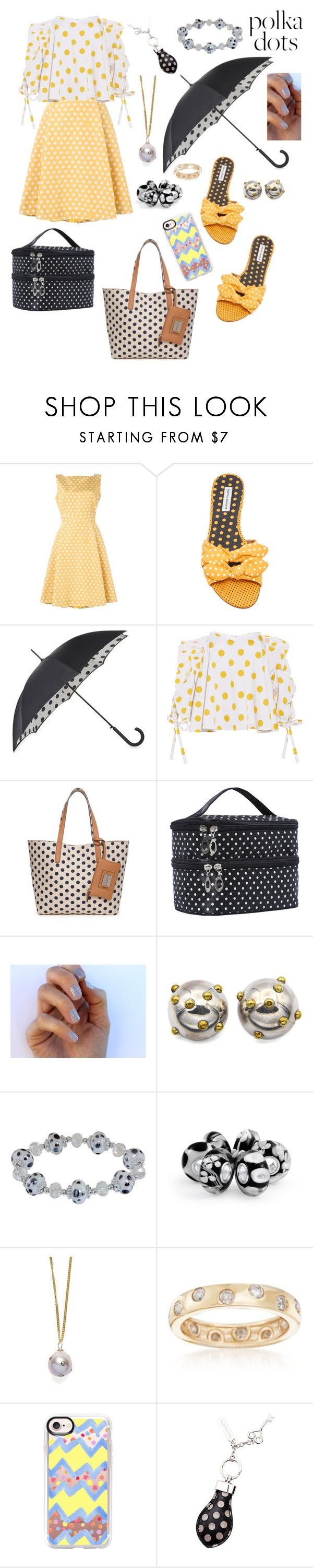 """Polka dots 🍄"" by stellastar22 ❤ liked on Polyvore featuring Rochas, Tabitha Simmons, Fulton, Caroline Constas, Rosetti, SoGloss, LOVA, Bling Jewelry, Bark and Ross-Simons"